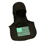Majestic American Flag Glow in Dark Green on Black hood NFPA Hood PA