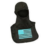 Majestic American Flag Glow in Dark Blue on Black hood NFPA Hood PAC