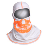Majestic White hood with High-Vis Orange Skull NFPA Hood PAC F-20