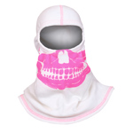 Majestic White hood with High-Vis Pink Skull NFPA Hood PAC F-20
