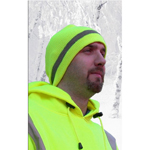 Dicke SC100 Lime Skull Cap with Silver Reflective Stripe